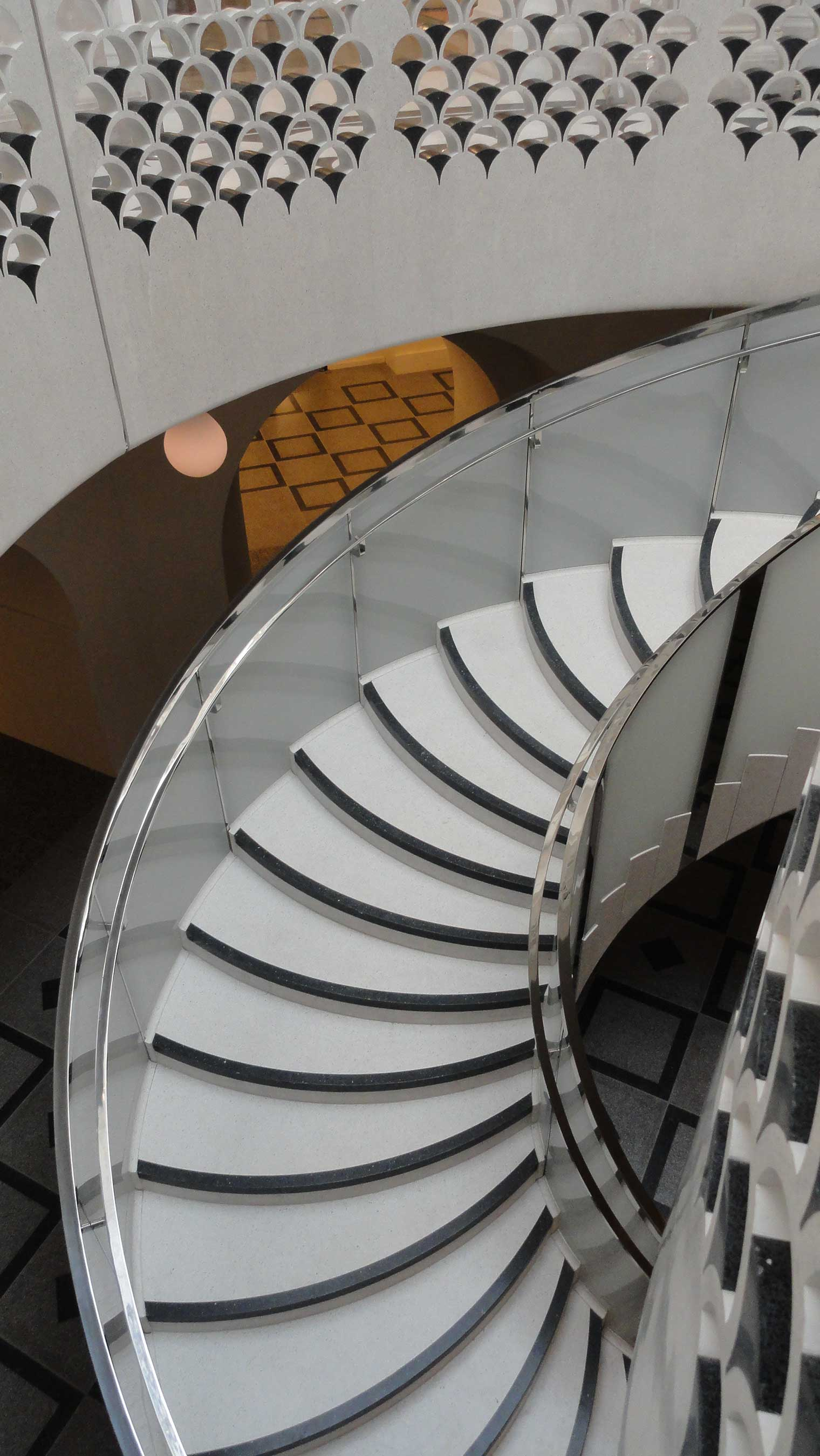 Bespoke Spiral Glass Staircase Balustrade, Tate Britain