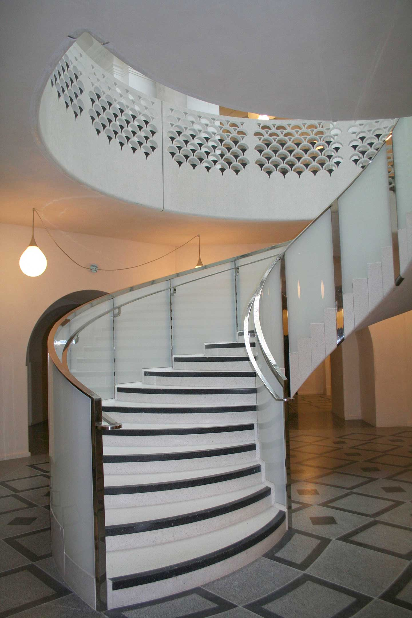 Bespoke White Glass Staircase with Custom Glass Balustrade Panels