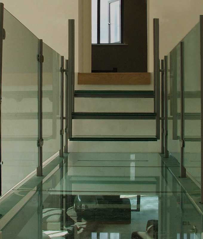 Glass Balustrade Post & Clamp System on Glass Bridge