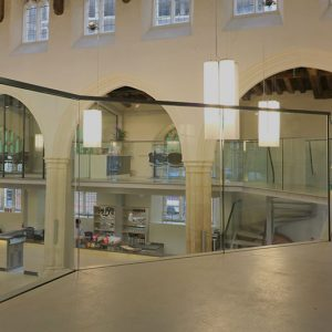 Frameless Glass Balustrades on Mezzanine Floor, St. Mary on the Quay