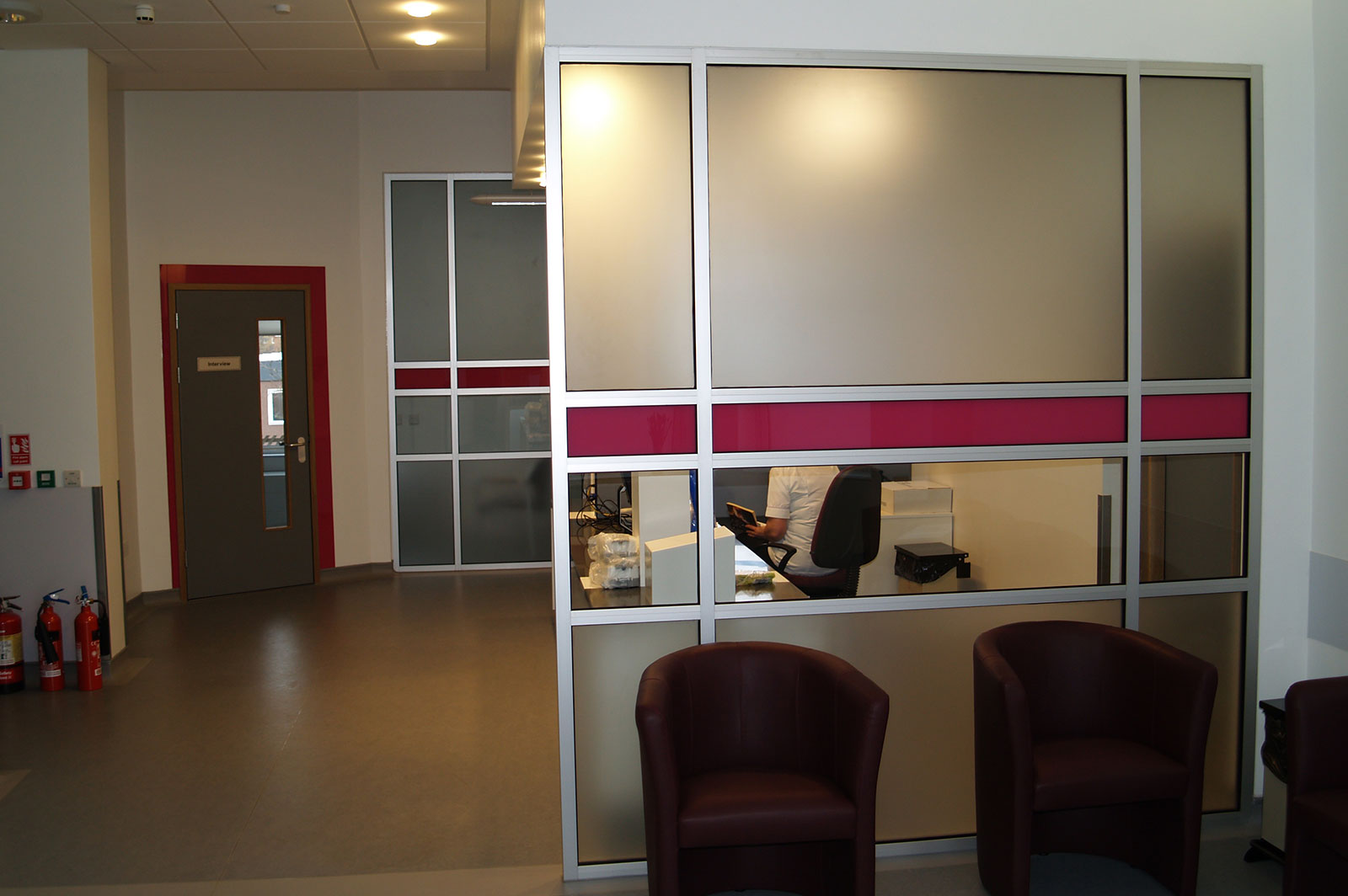 Coloured Glass Partitioning, Bedford MRI Hospital
