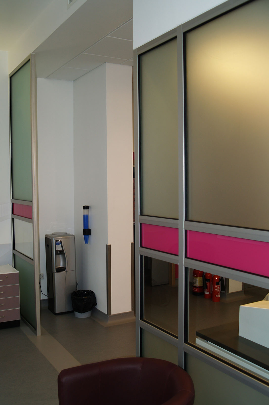 Bespoke Coloured Glass Partitions, Bedford MRI Hospital
