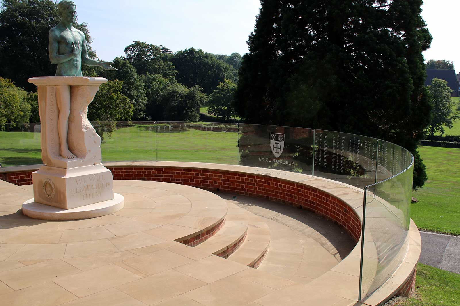 External Curved Glass Balustrades with War Memorial Laminated Glass Signage