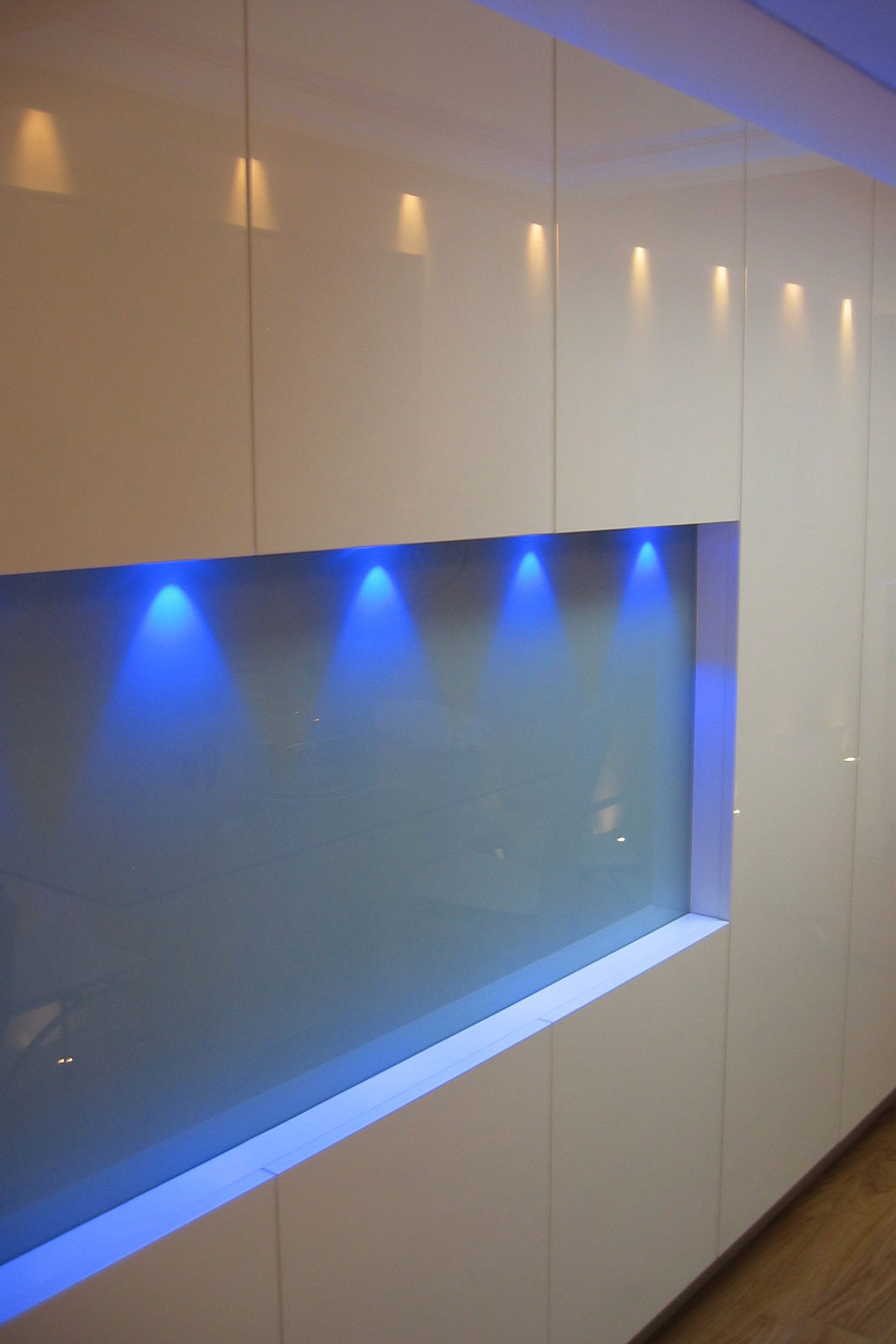 Coloured Glass Wall Cladding with Lighting Effects