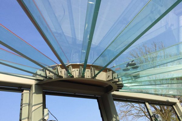 Structural Glass Beams with Angled Fixings, Glass Greenhouse