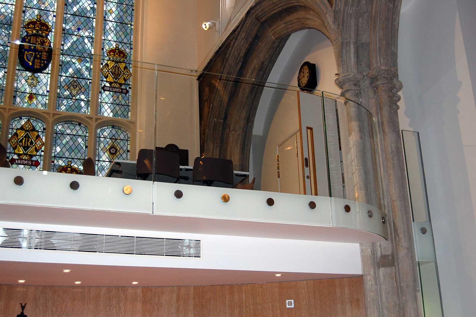 Curved Frameless Glass Balustrade, St. Andrew's Church