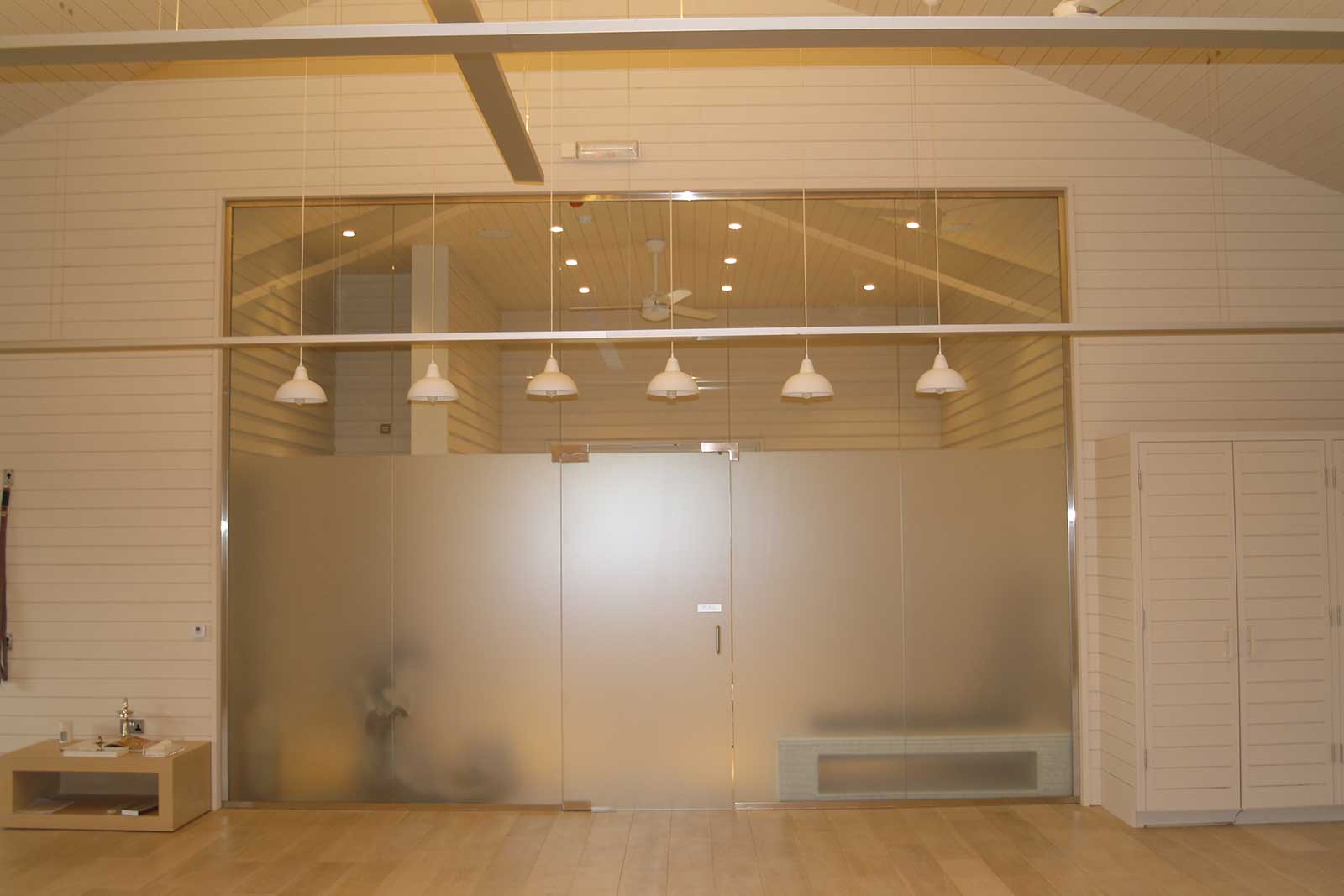 Glass Partitioning with Sandblasted Glass Privacy Screens