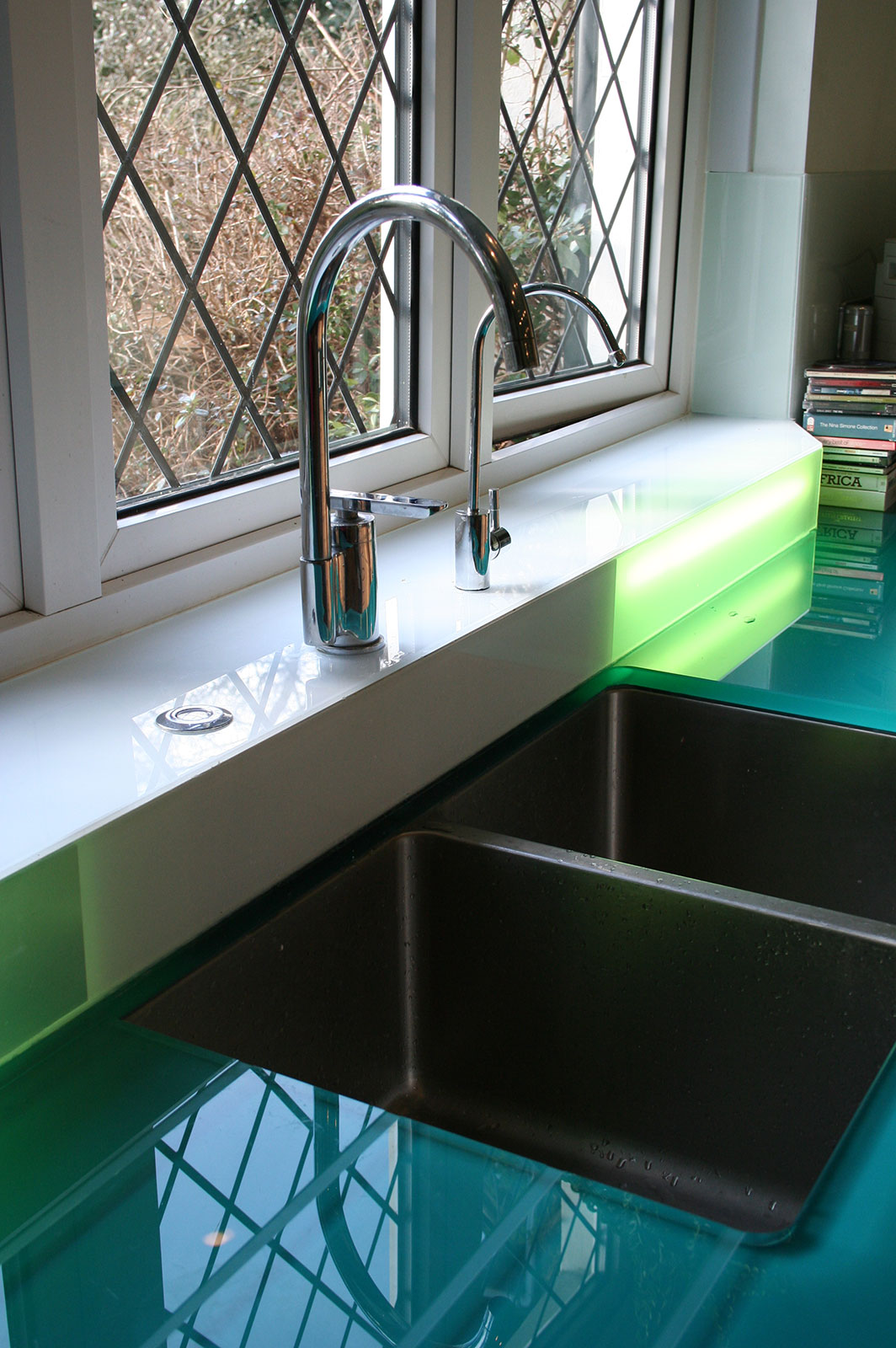 Bespoke Glass Worktop with Glass Drainer Grooves