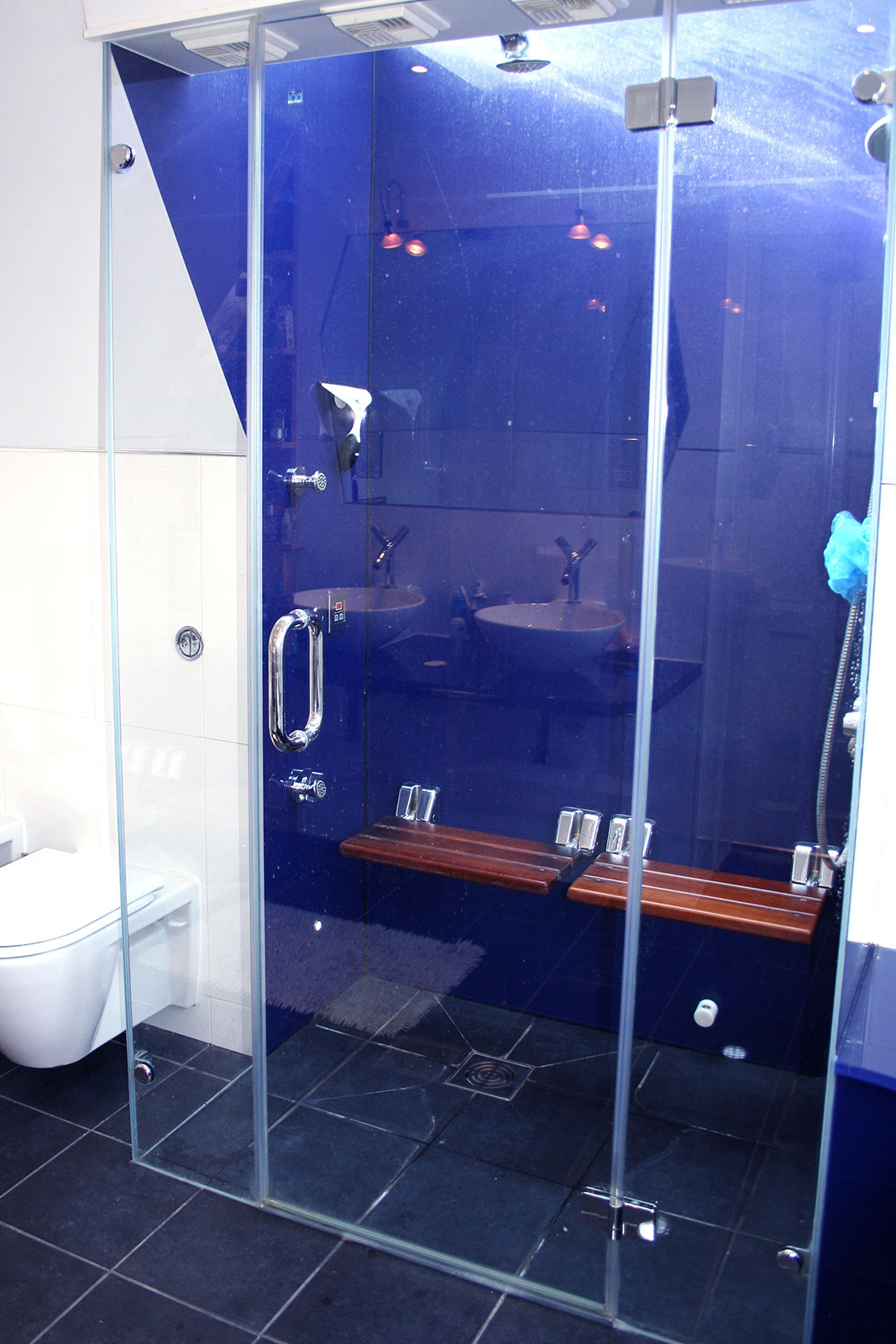 Large Glass Shower Enclosure with Wall Cladding