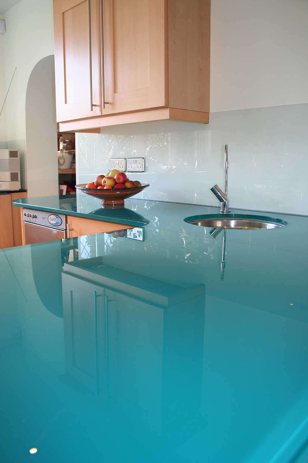 Bespoke Coloured Glass Worktop with Sink Cutout