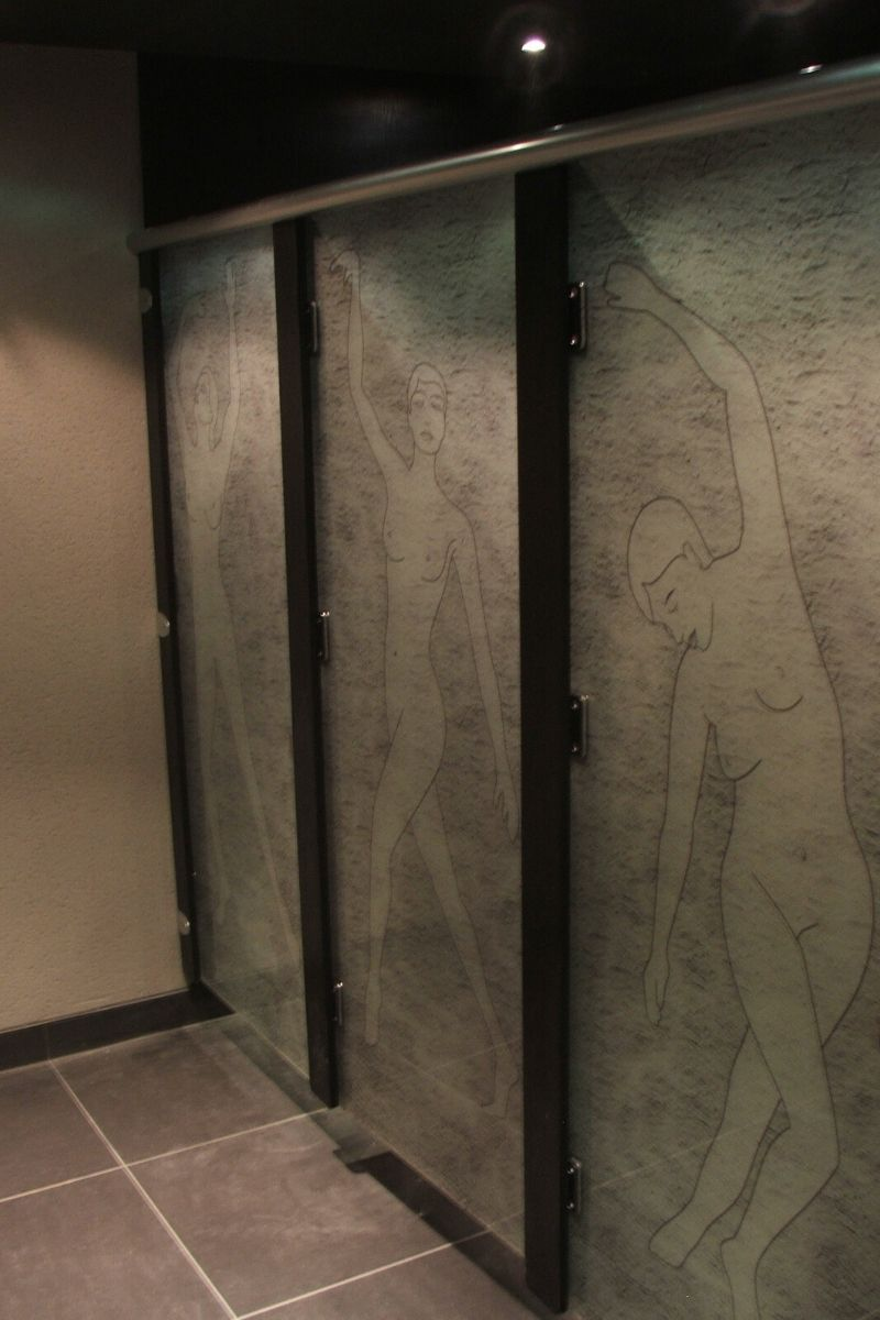 Etched glass cubicles for night club bathroom