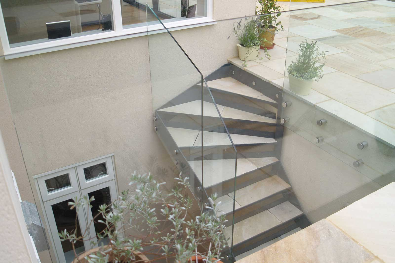 External Glass Staircase Balustrade to Basement
