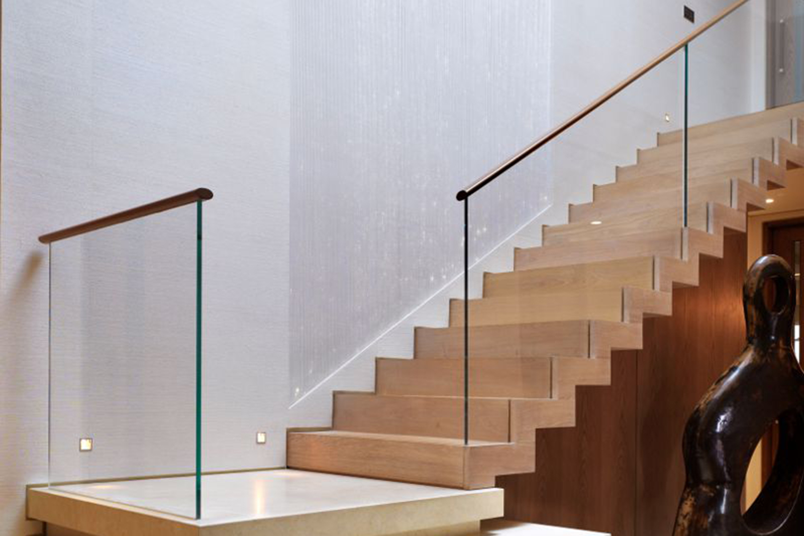 Bespoke Glass Staircase Balustrade with Wooden Handrail