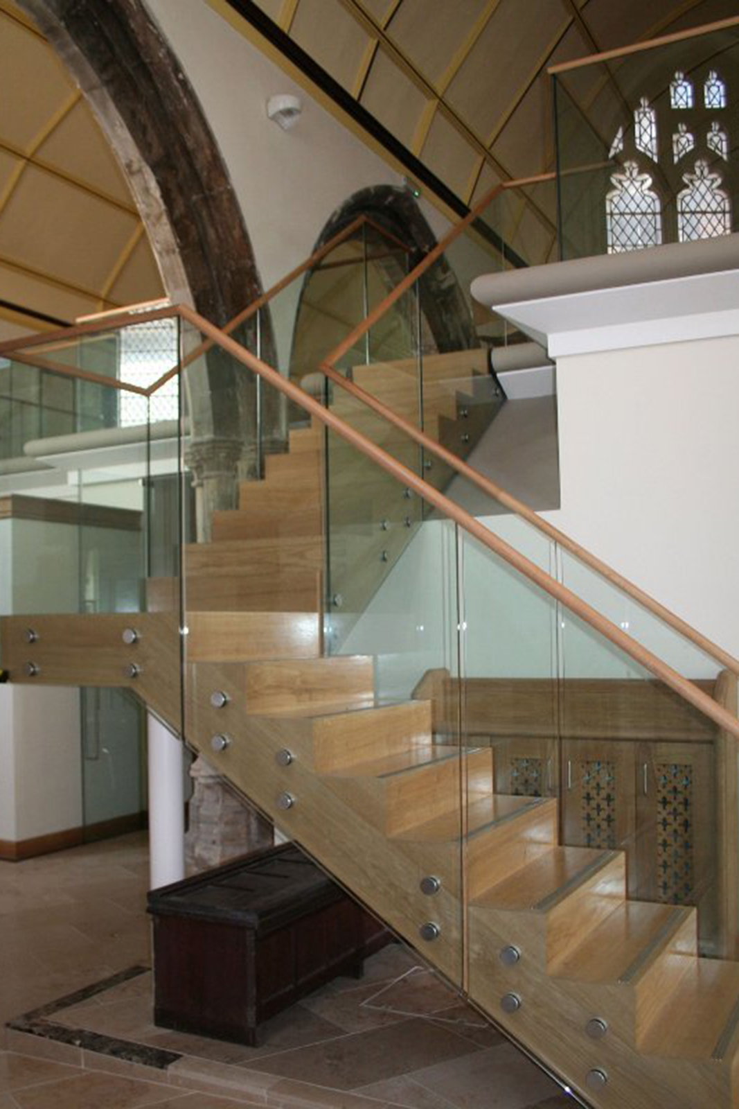 Wooden Handrail with Bolt Fixed Glass Balustrades