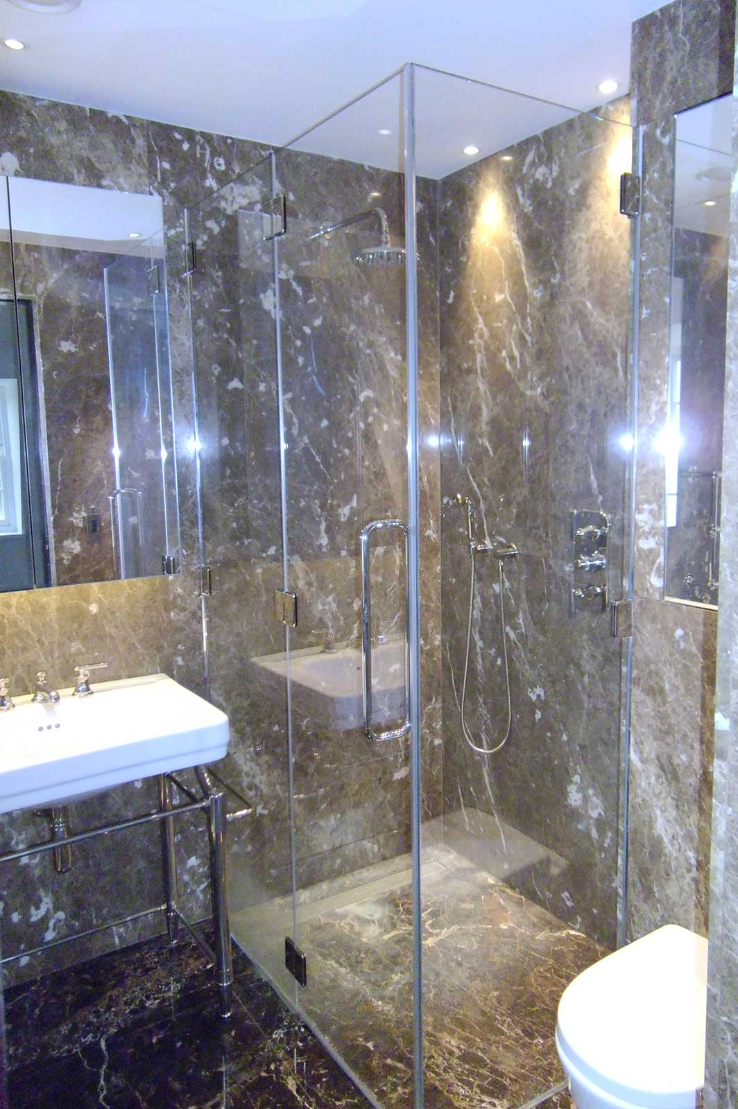 Bespoke Frameless Shower Enclosure with Glass Hung Door