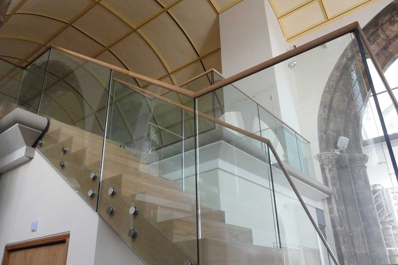 Bolted Glass Balustrade with Timber Handrail