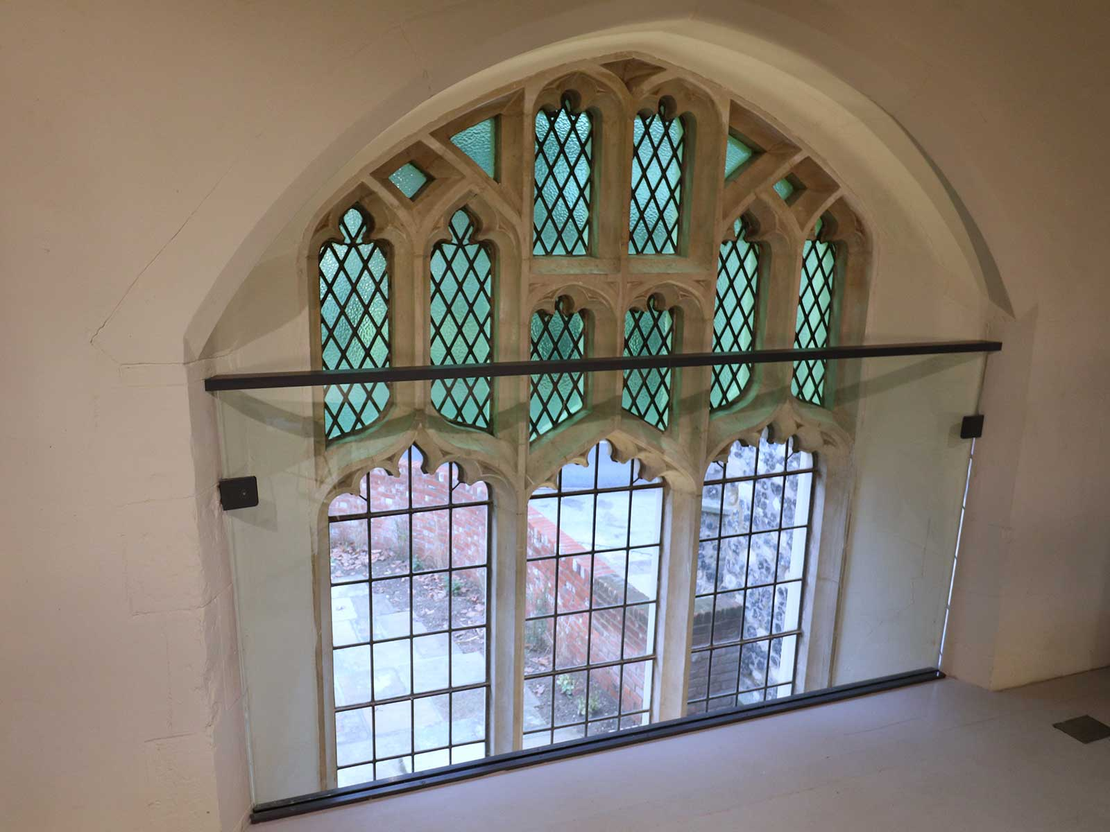 Frameless Glass Balustrade to Protect Stained Glass Window
