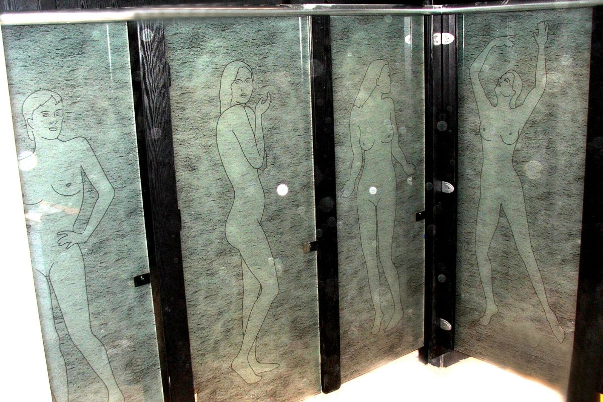 Glass cubicles with drawings