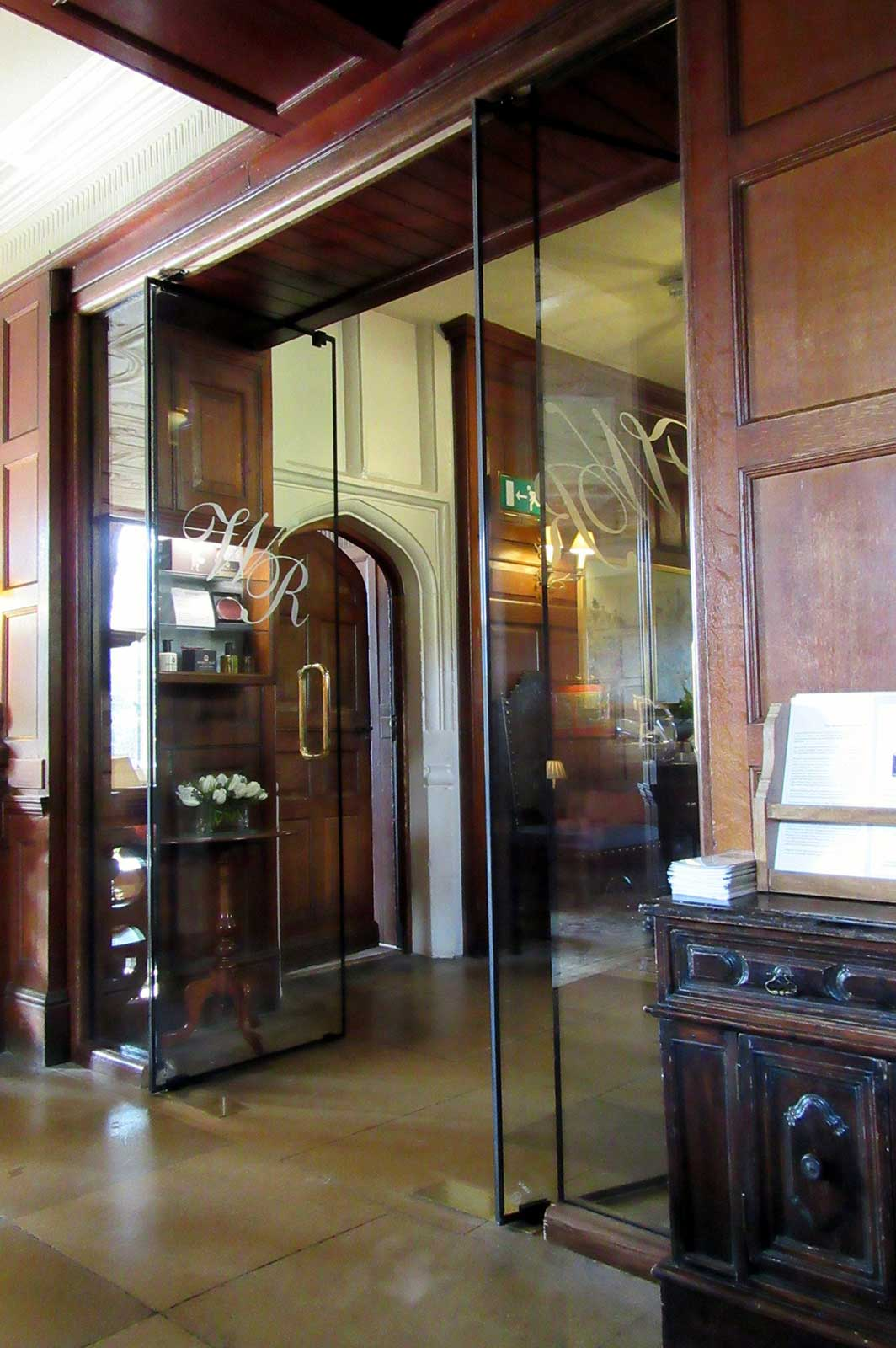 Engraved Frameless Glass Fire Doors