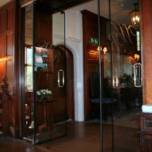 Engraved Frameless double glass fire doors
