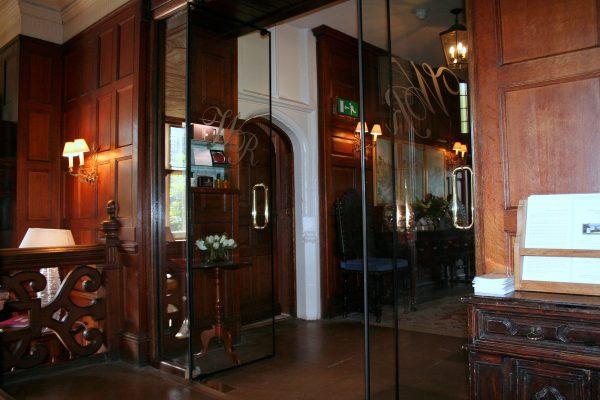 Engraved Frameless double glass fire doors