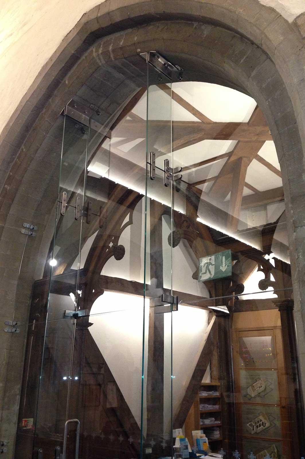 Frameless Glass Door with Glass Fins, St. Nicholas Church