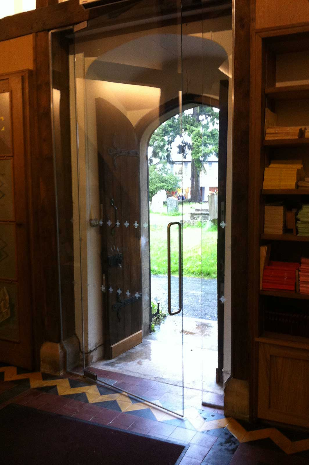 Internal Glass Church Door with Applied Manifestation