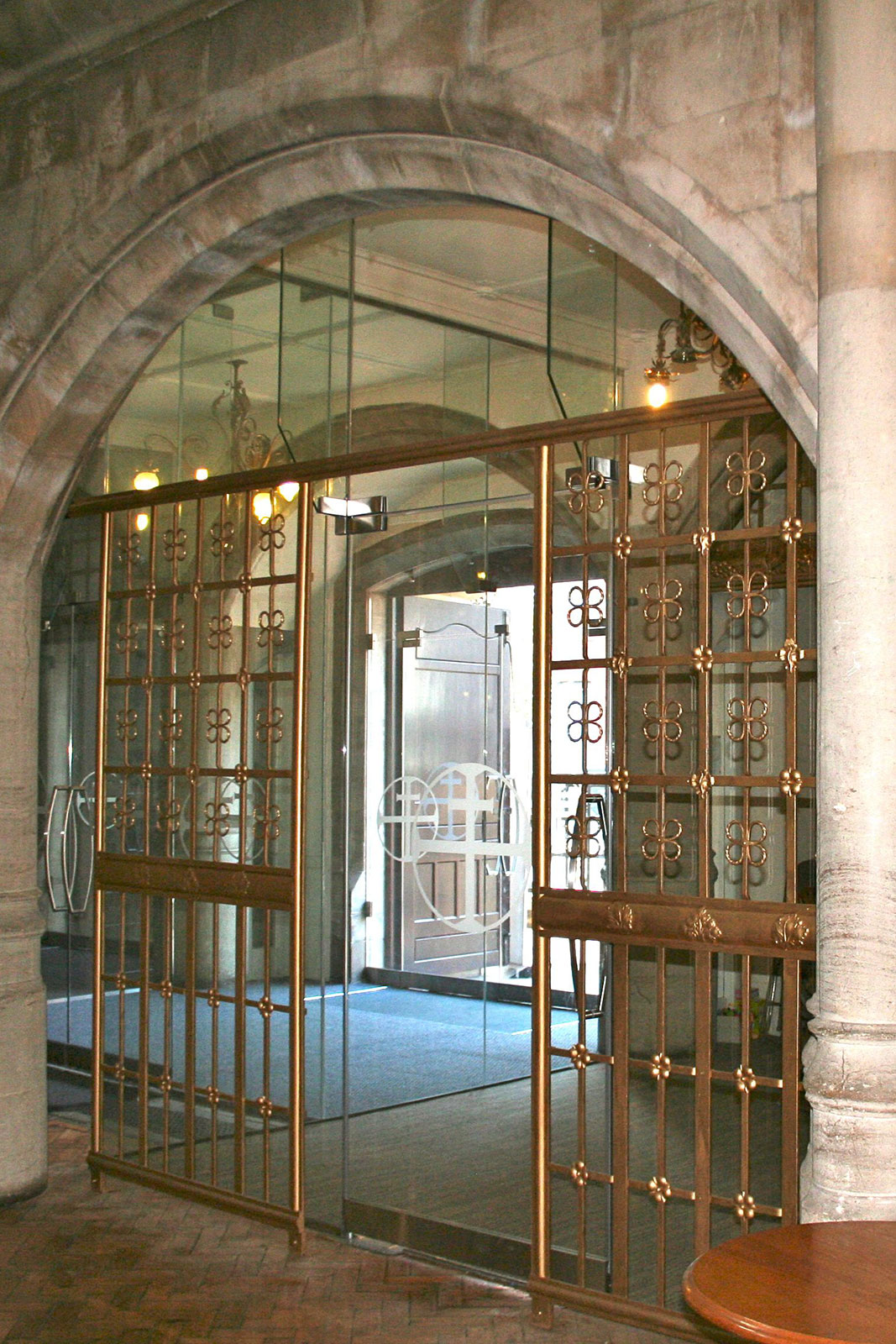 Bespoke Frameless Glass Pivot Door, Holy Trinity Church
