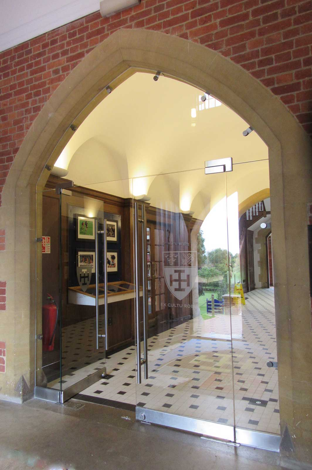 Bespoke internal glass doors Cranleigh school