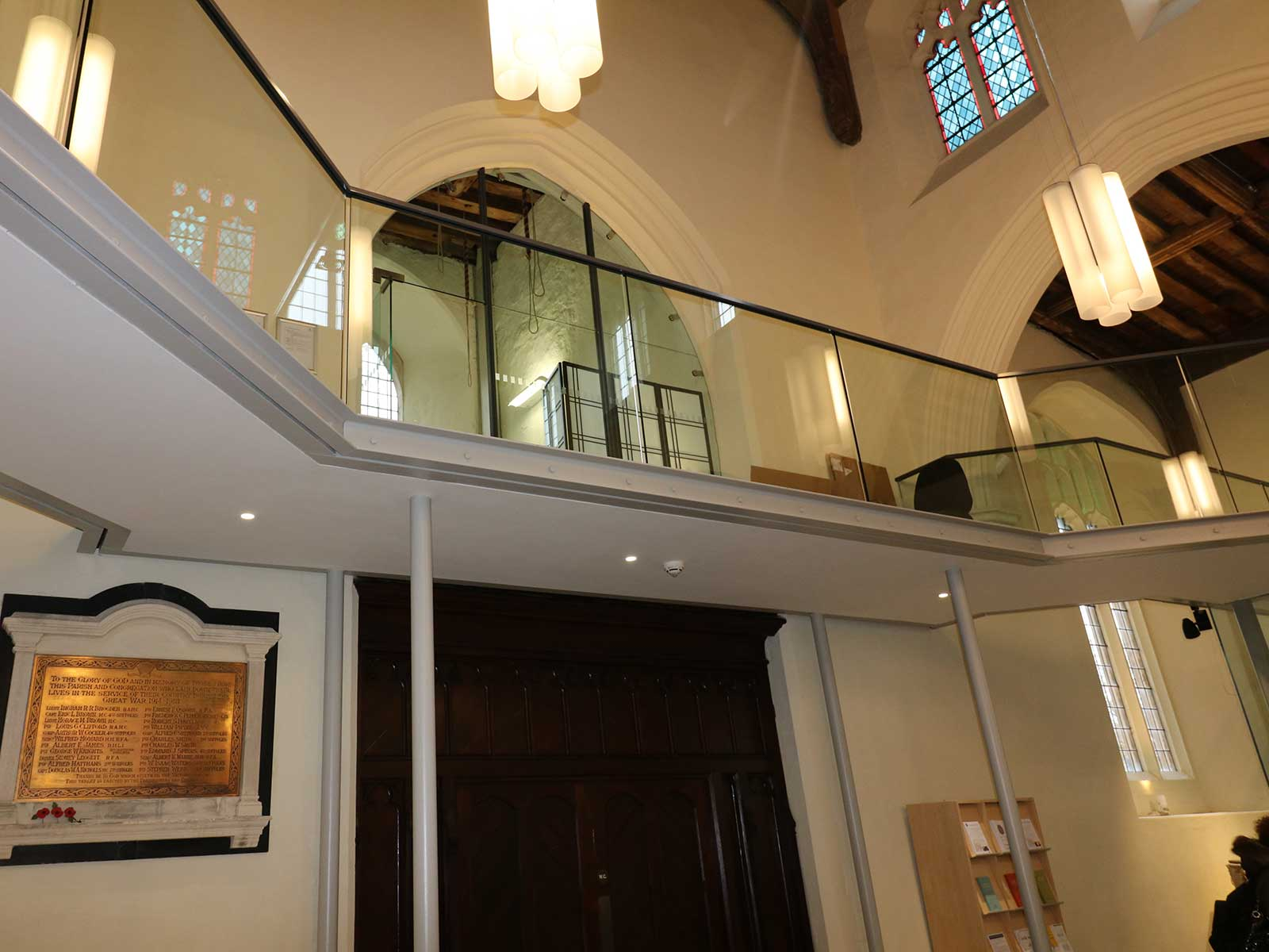 Glass Balustrade Panels to Mezzanine Floor at St Mary's Church