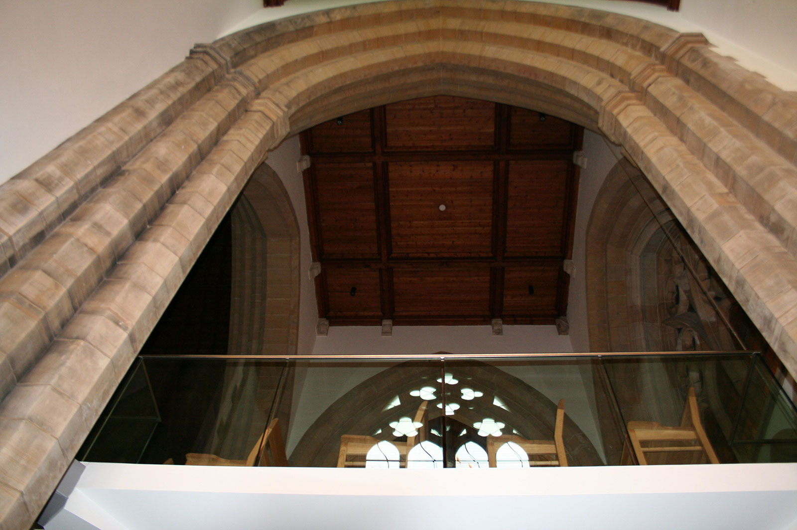 Frameless Glass Balcony to Suspended Gallery at Chapel