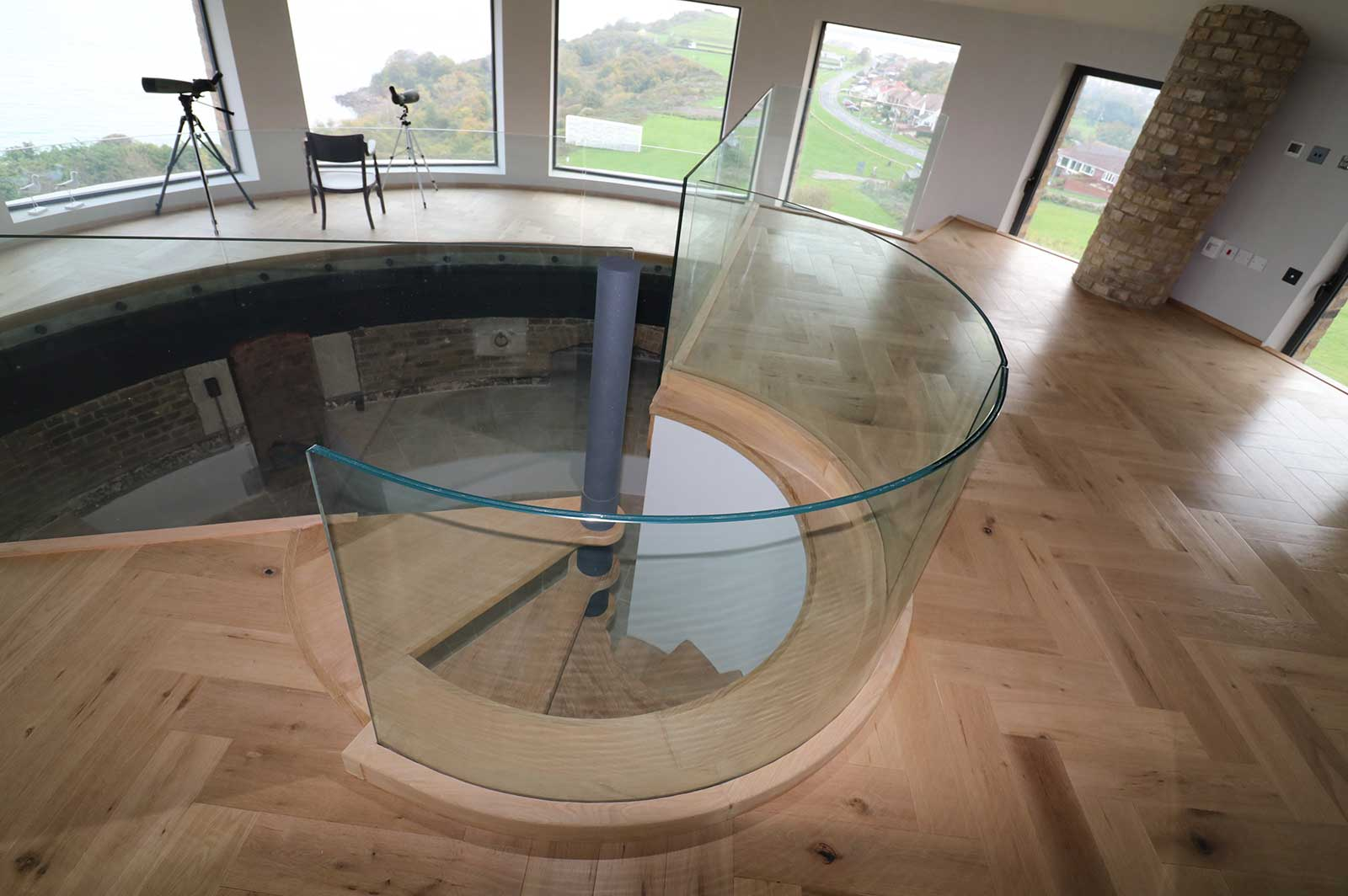 Frameless Glass Curved Balustrade, Martello Tower