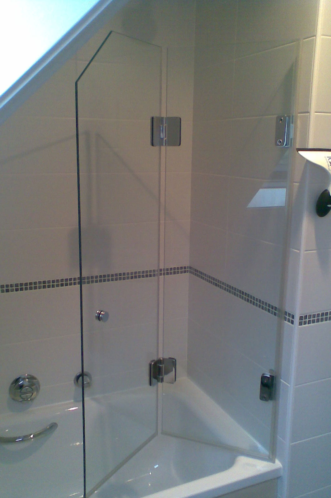Custom Glass Folding Bath Screen with Sloped Ceiling