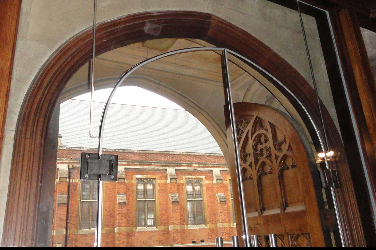 Bespoke Arch Shaped Glass Doors, The Leys School