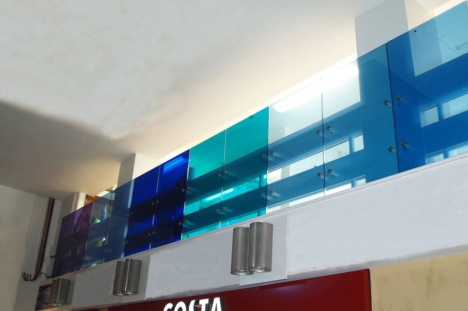 Coloured Glass Balustrades with Blue Interlayers, Southend Hospital