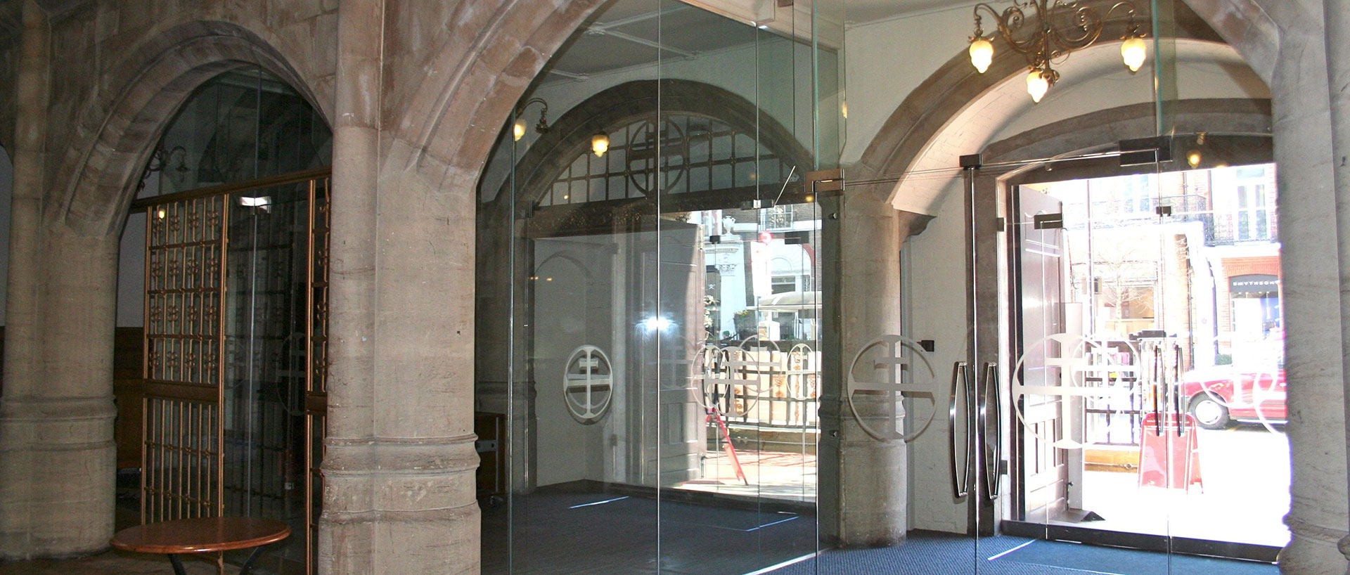 Frameless Glass Lobby Area, Holy Trinity Church Ion Glass Entrance Doors, Holy Trinity Church