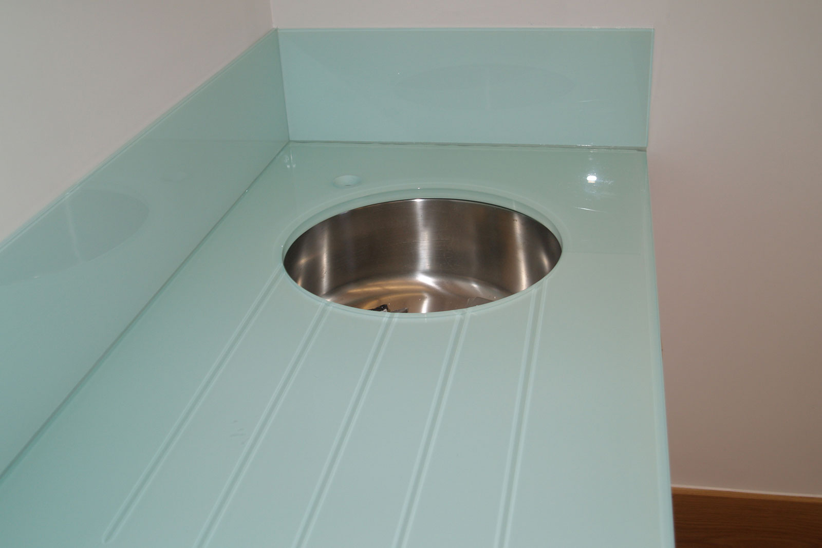 Bespoke Glass Worktop with Sink and Glass Drainer