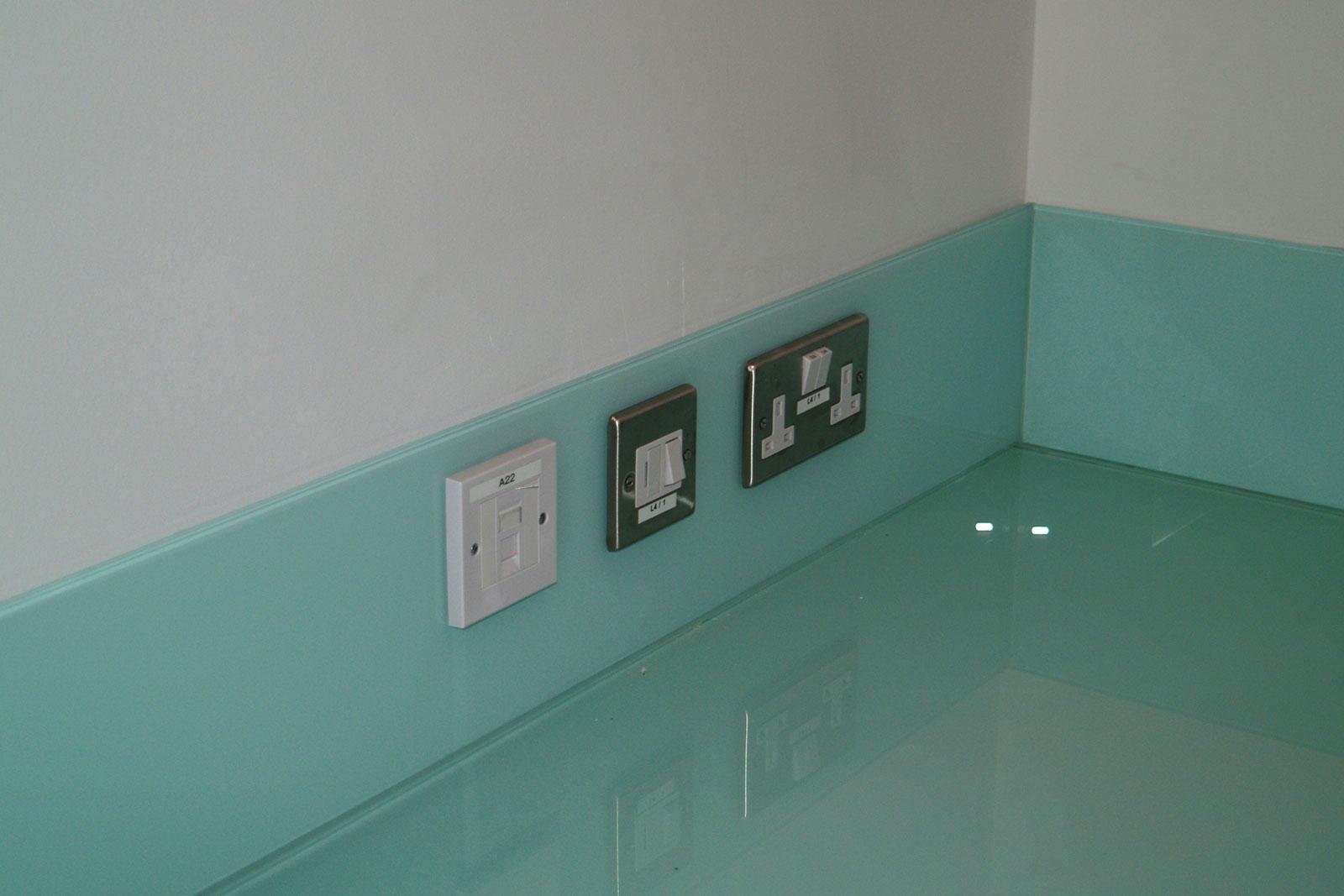 Bespoke Glass Splashbacks with Socket Cutouts