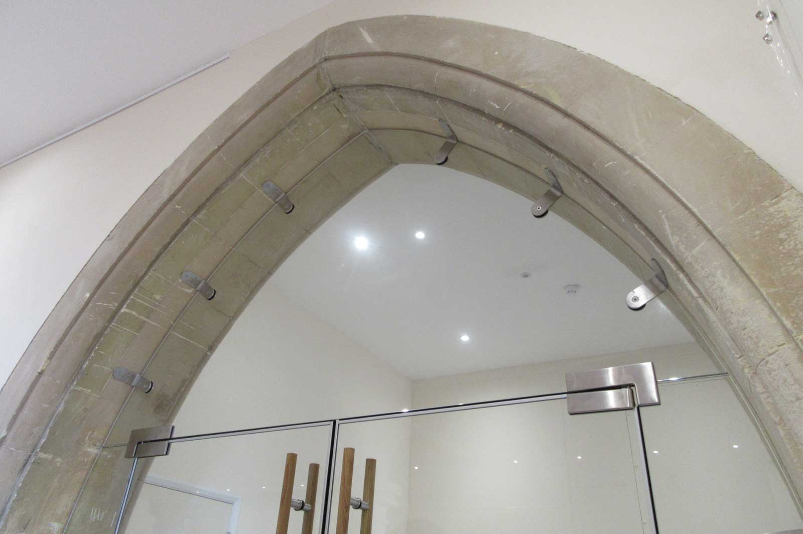Bespoke Glass Arched Screen with Double Doors
