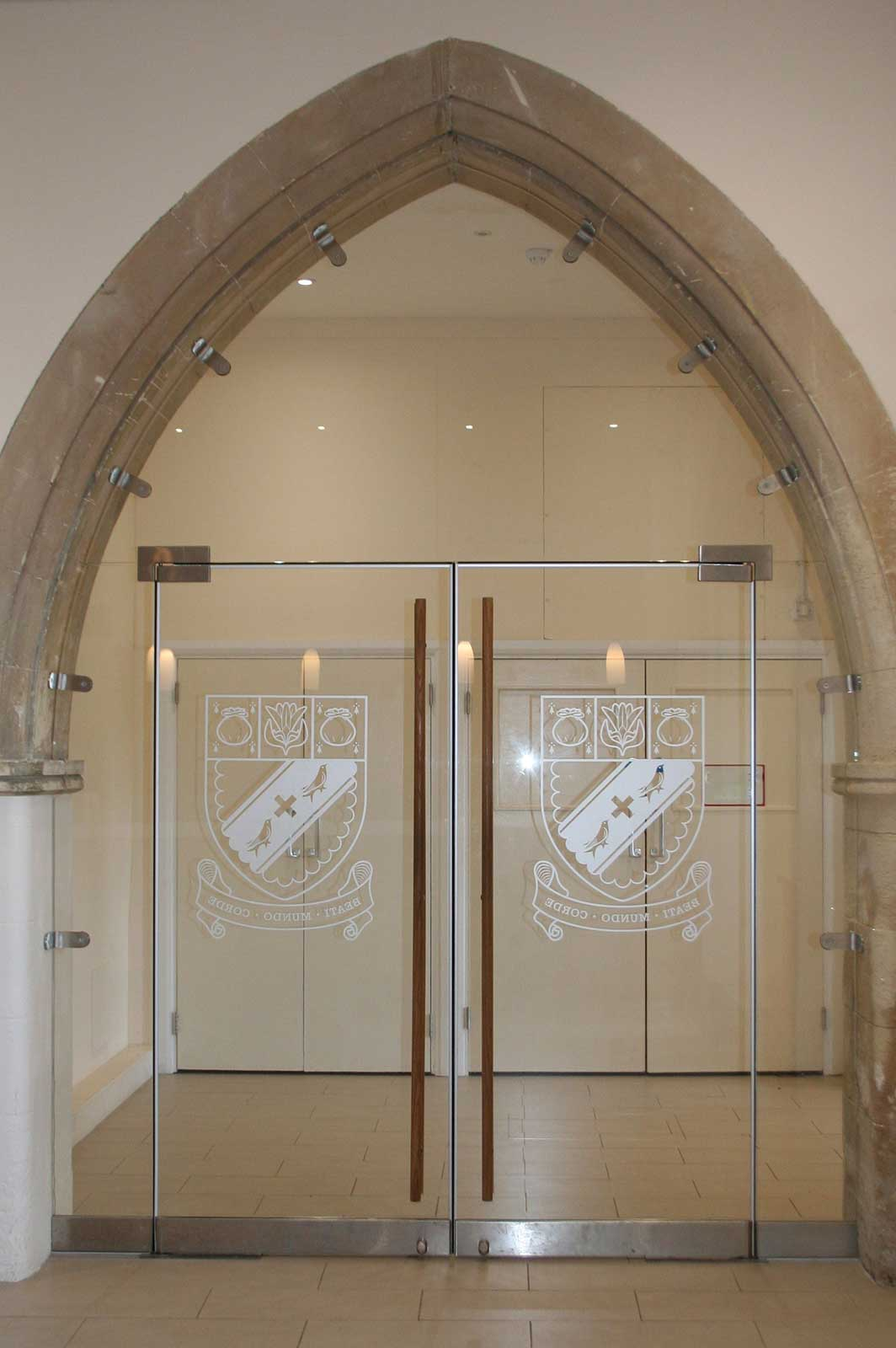Bespoke Glass Double Doors with Glass Manifestation