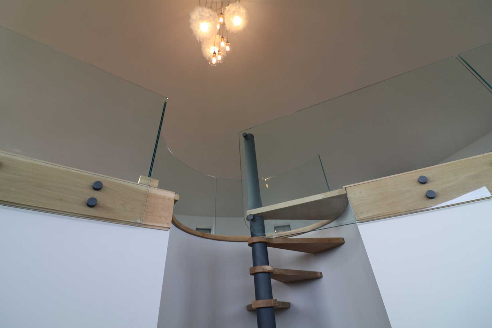 Curved Glass Staircase Balustrade, Martello Tower