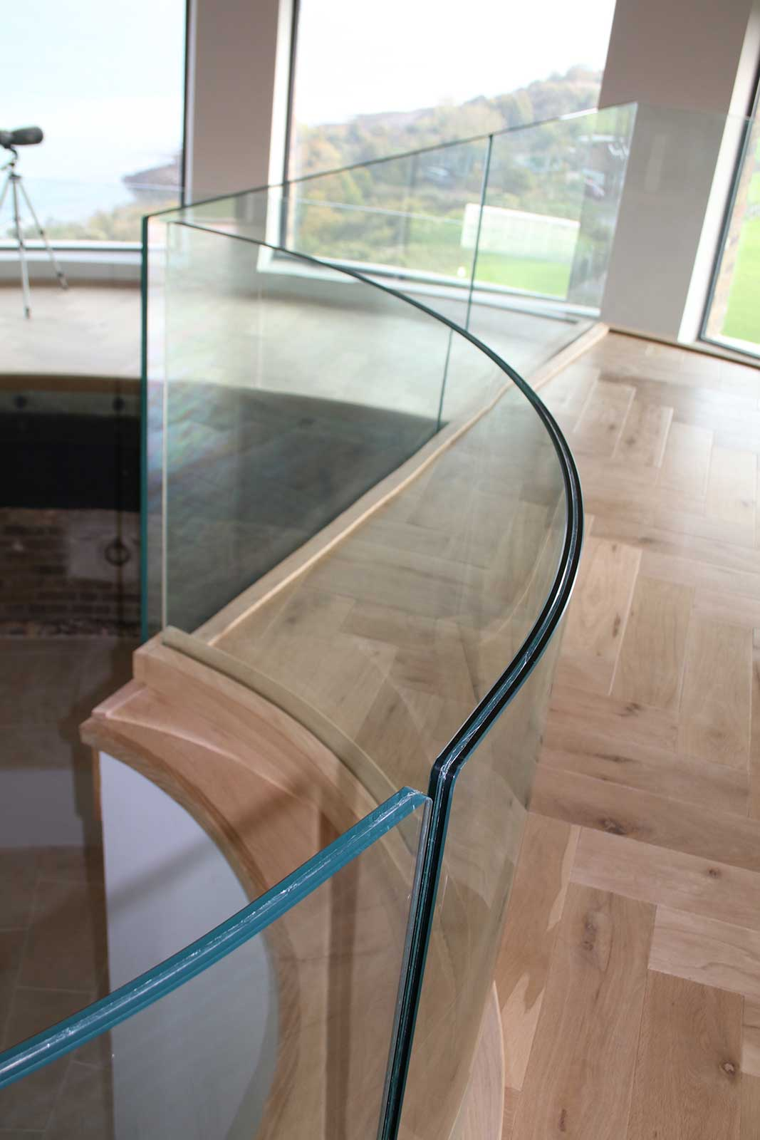 Curved Radius on Curved Glass Balustrade