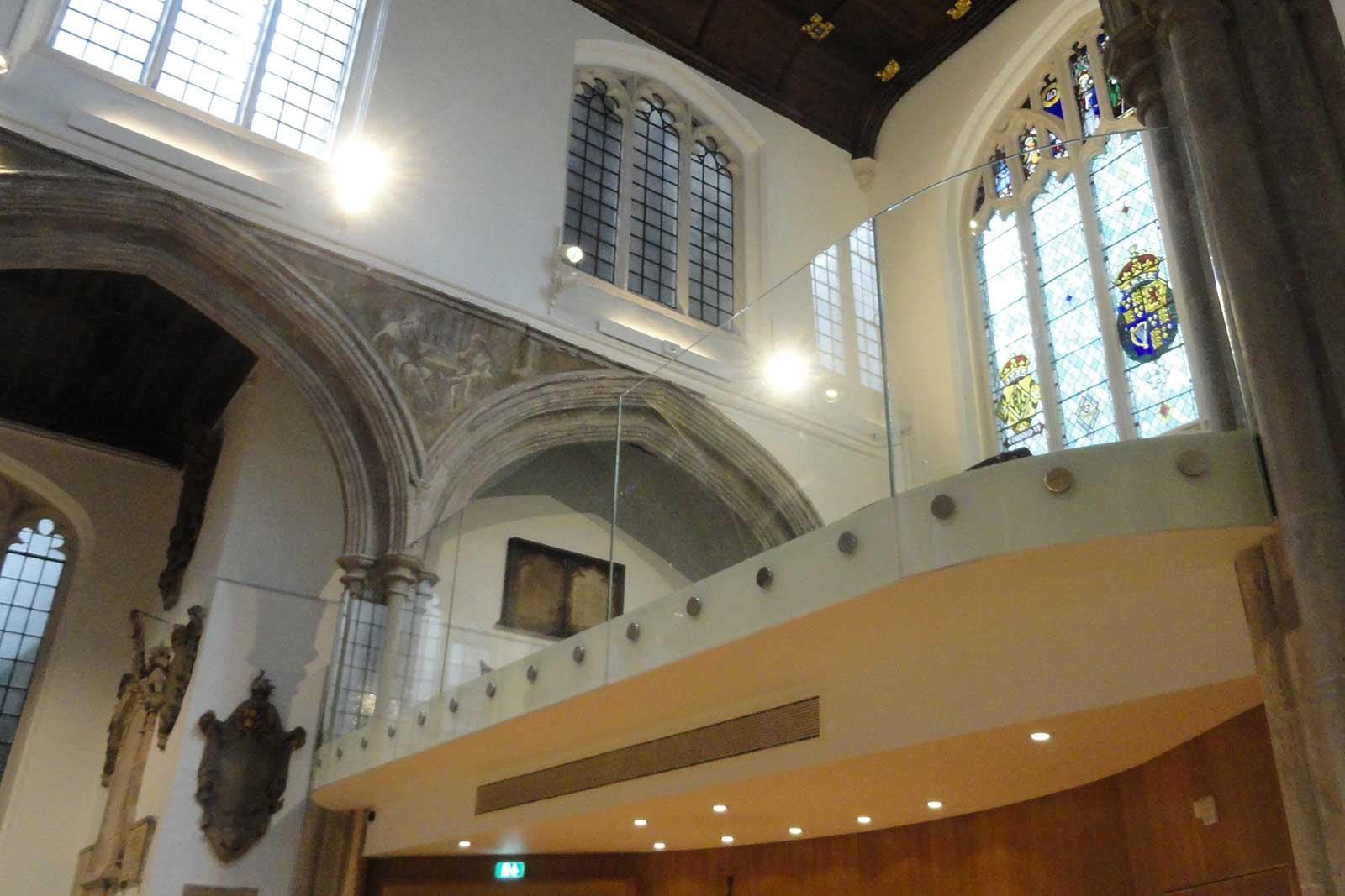 Mezzanine Floor With Curved Glass Balcony Balustrade