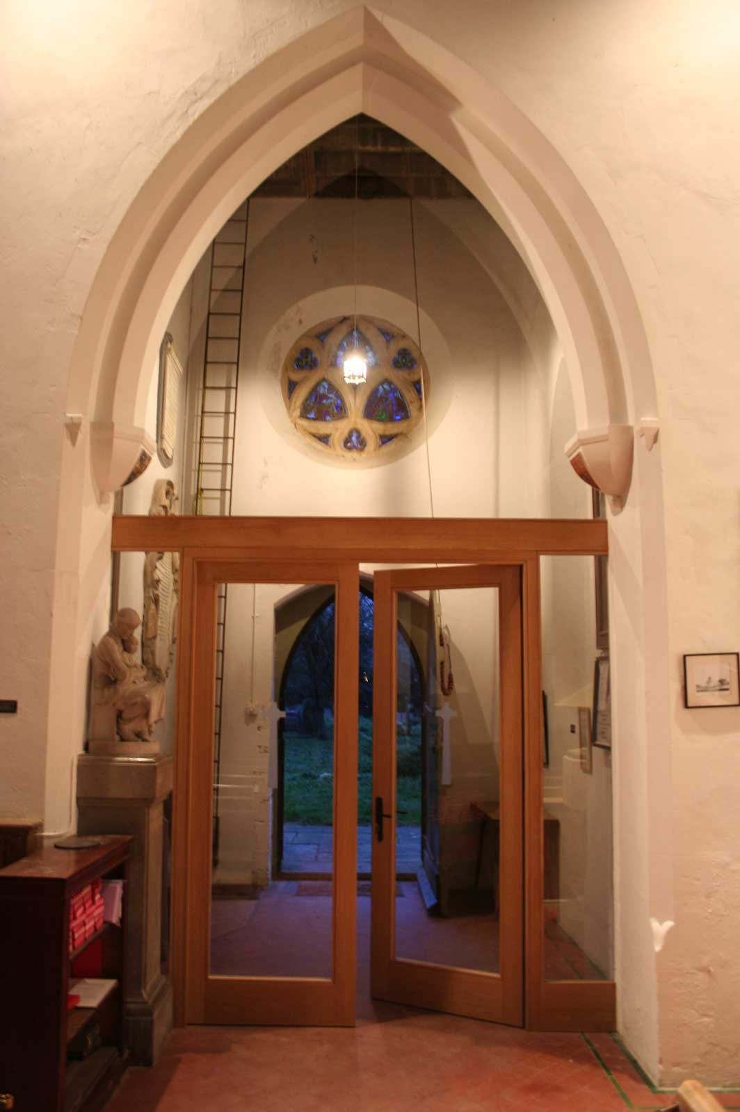 Bespoke Arched Glass Screen and Doors, Newtimber Church, Sussex