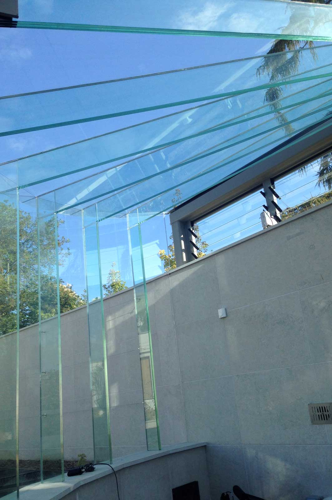 Glass Interface with Structural Glass Beams and Fins, Glass Greenhouse