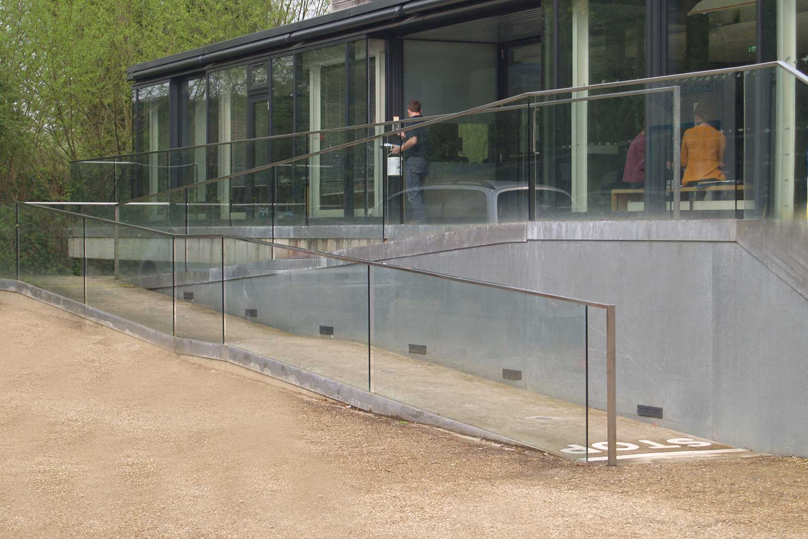 External Glass Balustrade to sloped entrance