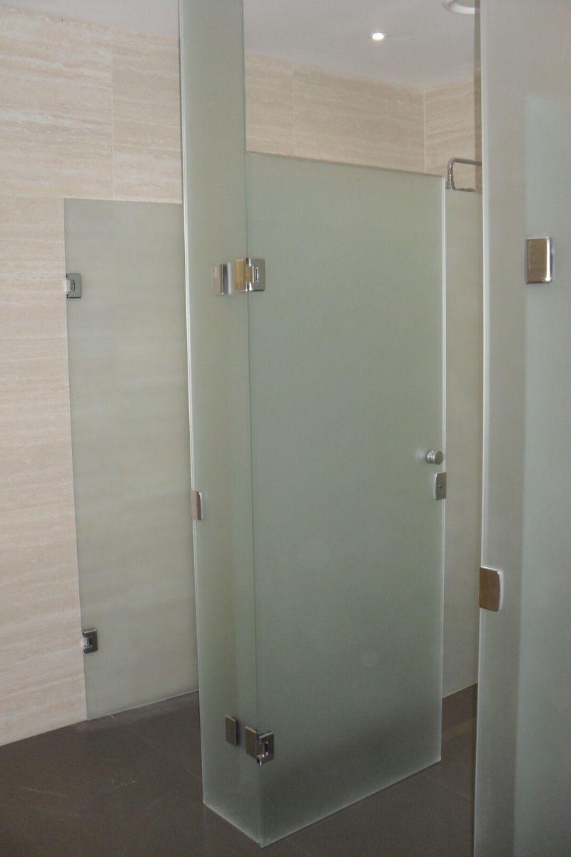 Sandblasted frameless glass cubicles