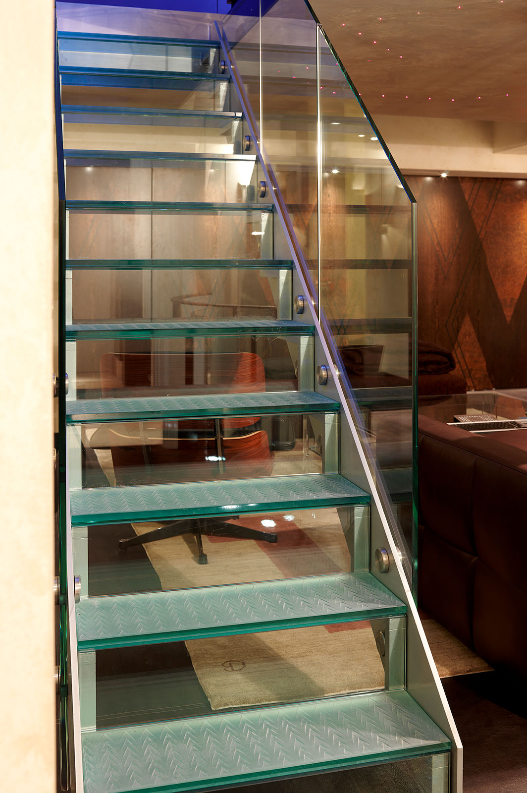 Glass Staircase with Bespoke Glass Stair Treads and Balustrade, Art Deco Penthouse