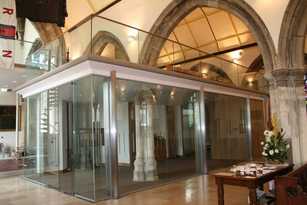 Structural Glass Lobby Entrance with Glazed Balustrades