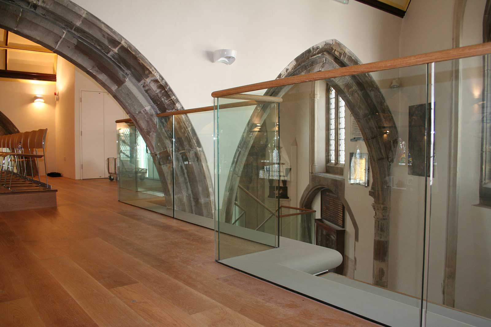 Channel Set Glass Balustrades with zigzag shape, St. Clement's Church